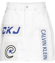 high rise mini skirt kort kjol vit calvin klein jeans