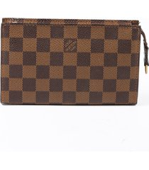 louis vuitton vintage damier ebene brown coated canvas pouch brown sz: n