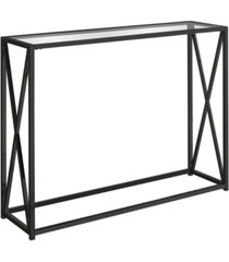 """monarch specialties tempered glass 42""""l console accent table in black"""