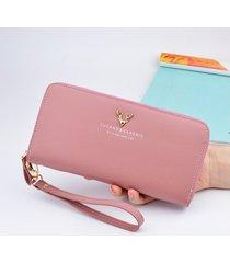 billetera mujeres- cartera larga monedero-rosa