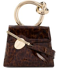 benedetta bruzziches gold ring handle tortoise effect tote bag - brown
