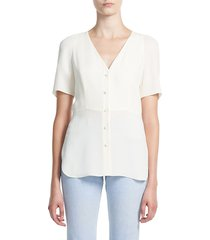 theory women's vest silk shirt - ivory - size xl