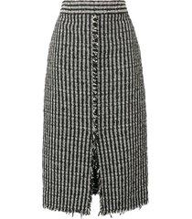 alexander mcqueen high waist boucle skirt - black