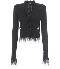 balmain short collarless fringed blazer