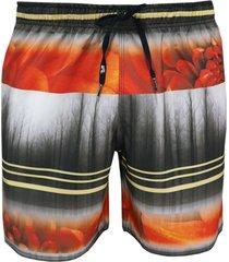 shorts alkary elástico listra vermelho e preto