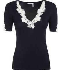 chloé floral embellished slim t-shirt