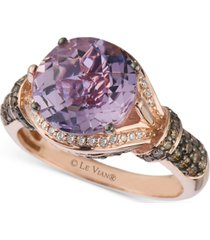 le vian amethyst (3 ct. t.w.) and diamond (1/2 ct. t.w.) ring in 14k rose gold