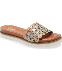 ara amadora slide sandal, size 7.5us in sand velour/glossy calf at nordstrom