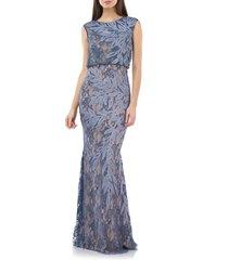 women's js collections soutache lace blouson gown, size 12 - grey