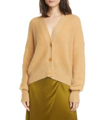 women's vince open stitch front button cardigan, size x-small - brown