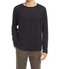 men's vince long sleeve linen t-shirt, size x-large - black