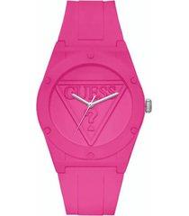 reloj análogo rosado guess