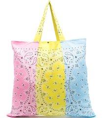 arizona love bandana-print colour-block tote - pink