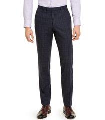 hugo hugo boss men's classic-fit stretch dark blue plaid suit pants