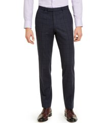 hugo men's modern-fit stretch dark blue plaid suit pants