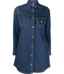 calvin klein jeans denim shirt dress - blue