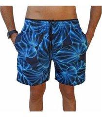 bermuda short folhas moda praia relaxado estampado masculina