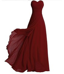 blevla sweetheart long chiffon pleated bridesmaid dresses prom evening gown b...