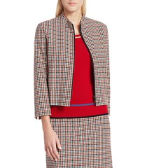 akris punto women's houndstooth sport tape jacket - multi luminous red - size 8