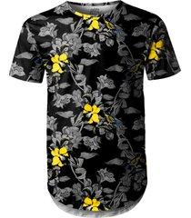 camiseta masculina longline swag jardim com pã¡ssaros - preto - masculino - poliã©ster - dafiti