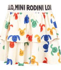 mini rodini ivory skirt for girl with rabbits