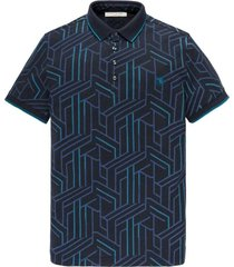 cast iron short sleeve polo popcorn merceriz dark sapphire poloshirts blauw