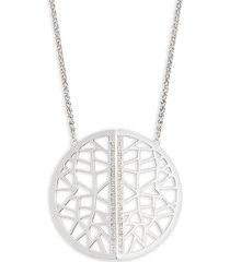 "effy women's sterling silver & 0.18 tcw diamond cutout pendant necklace/17"""