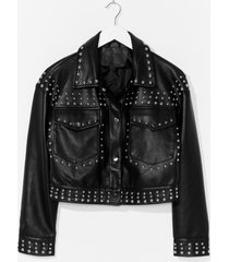womens tell me about it stud faux leather shirt jacket - black