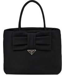 prada bow detail tote bag - black