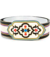 etro embroidery suede belt - black