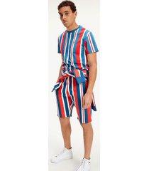 tommy hilfiger men's organic cotton vertical stripe t-shirt white / deep crimson - s