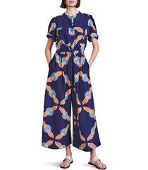 apiece apart ensanada print cotton & silk jumpsuit, size x-small in shibori geo floral at nordstrom