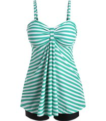 striped knotted empire waist tankini swimwear