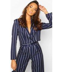 cropped power shoulder pinstripe blazer, navy