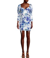 for love & lemons women's hyacinth floral-print mini ruched dress - navy floral - size m
