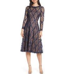 women's tadashi shoji 3d flowers lace dress, size 16 - blue