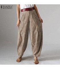 zanzea para mujer de la cremallera casual harem flojo señoras de los bolsillos del pantalón holgados pantalones largos -café