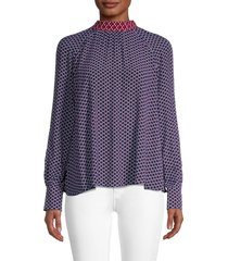 kenzo women's fishnet tieneck blouse - duck blue - size 36 (4)