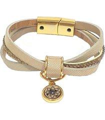 pulseira armazem rr bijoux couro trãªs voltas strass areia dourada - bege - feminino - dafiti