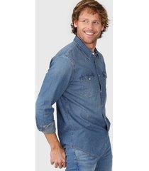 camisa azul levi's classic western standard - dark wash