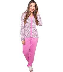 pijama feminino longo serra e mar modas de botã£o rebeca rosa - rosa - feminino - poliã©ster - dafiti