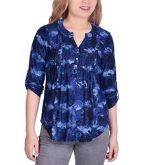 women's 3/4 roll tab sleeve knit y neck pullover