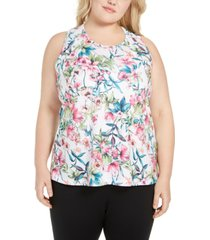 ideology plus size floral-print split-back top, created for macy's