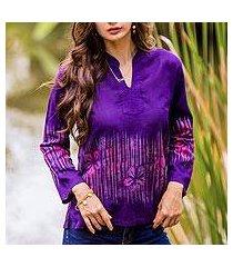 cotton batik blouse, 'violet frangipani' (thailand)