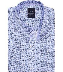 tailorbyrd men's leonard short-sleeve geometric shirt - blue - size s