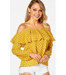 blusas amarillas con tirantes finos y detalle de pliegues a lunares