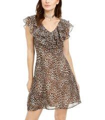 19 cooper animal-print ruffled a-line dress