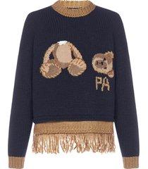 palm angels bear fringed wool-blend sweater