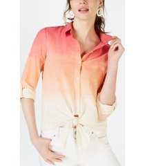 inc cotton ombre tie-front shirt, created for macy's