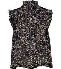 printed georgette blouse mouwloos multi/patroon ganni